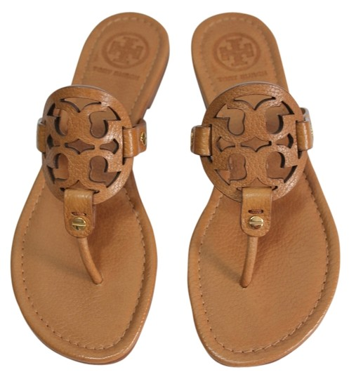 c1ca763eda04 Tory Burch Royal Tan New Box Miller Summer Tumbled Leather Flats ...