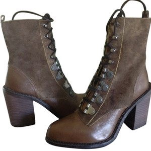 Luxury Rebel Mara Grey Leather Khaki/brown-green Boots