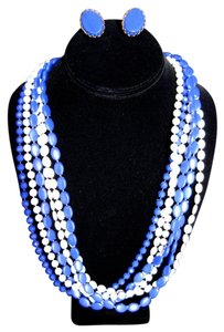 Vintage 1960's Blue and White Beaded Necklace and Earring Set