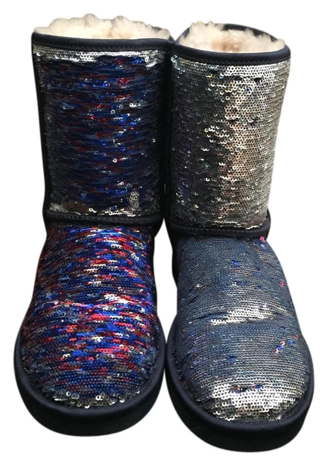 334f1aeae0c UGG Australia Silver Red Blue Sequin Sparkles Women's Classic Short  Boots/Booties Size US 8 Regular (M, B)