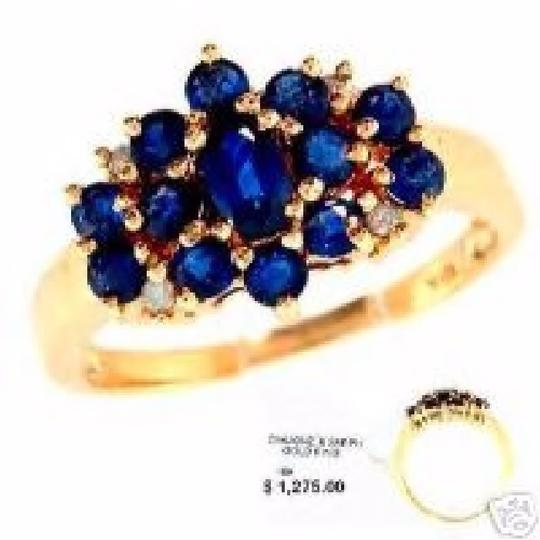 Other 18k Ring with Sapphire Gemstones and Diamonds December Birthstone Vintage Estate
