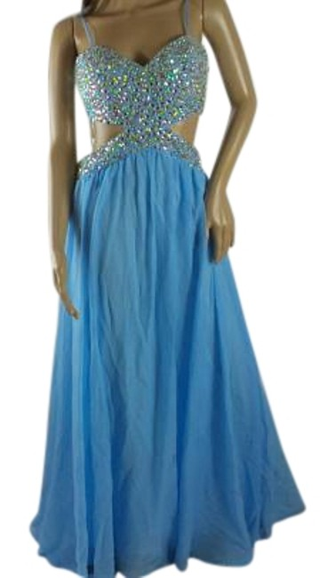 Item - Blue Evening Gown Long Night Out Dress Size 6 (S)