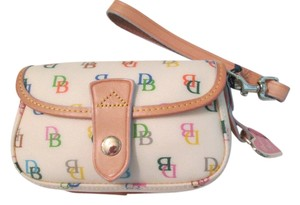 Dooney & Bourke Dooney & Bourke wristlet. white with multicolor DB letter logo, White, Beige, Pink, Yellow, Blue, Green, Purple, Gold Wristlet with cute heart pendant /charm on side. This wristlet is adorable. Spring time deal! NWT