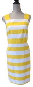 Ann Taylor short dress Yellow/White Sleeveless Striped on Tradesy