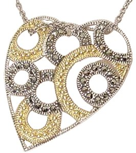 Judith Jack Sterling Silver Goldtone Marcasite Circle Heart Necklace