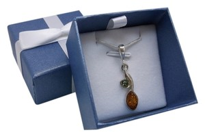 Other Baltic Pressed Green & Orange Amber Pendant with chain Free Shipping