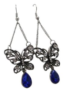 Butterfly Earrings with Blue Crystal w Free Shipping