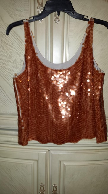 BCBGMAXAZRIA Top rust sequined