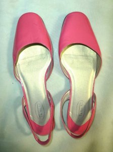 Talbots Lacquered Leather Slingbacks Sandals 9.5 W PINK Flats