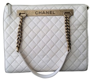 Chanel Leather Chain Strap Tote in Ivory