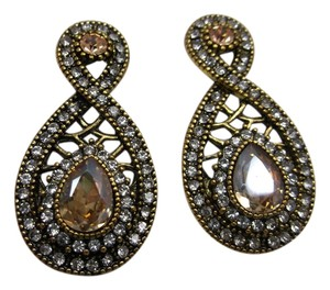 Champagne Crystal Tear Drop Earrings w Free shipping