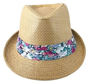 Light Brown Floral Accent Summer Hat Fedora