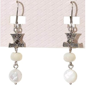 Judith Jack Sterling Silver Marcasite Mother of Pearl Logo Drop Earrings