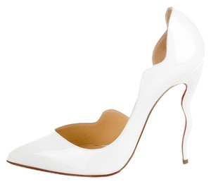 Christian Louboutin Patent Leather Dalida White Pumps