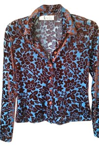 Ariella Button Down Shirt Brilliant blue velvet brown