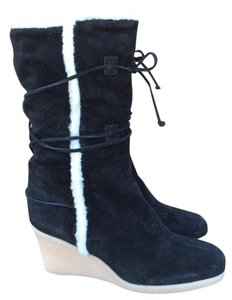 Michael Kors Wedge Suede Shearling Rubber Black Boots