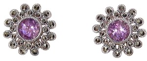 Judith Jack Sterling Silver Marcasite Amethyst Floral Pierced Earrings