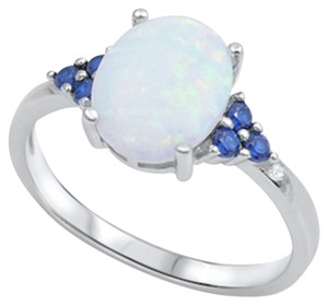 9.2.5 Gorgeous opal and blue sapphire cocktail ring size 8.