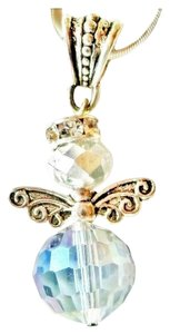 Other Swarovski AB Crystal Christmas Angel Sterling Silver Necklace