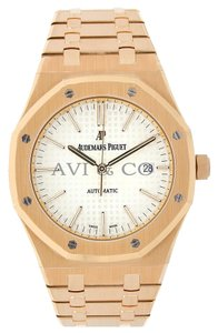 Audemars Piguet Audemars Piguet Royal Oak 41 Rose Gold Watch Silver Dial