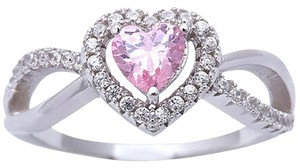 9.2.5 Gorgeous pink and white sapphire heart cocktail ring size 7.