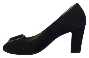 Aquatalia by Marvin K. Chunky Heel Black Suede Pumps