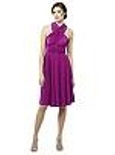 Persian Plum Matte Jersey Twist Wrap Short Casual Bridesmaid/Mob Dress Size 4 (S)