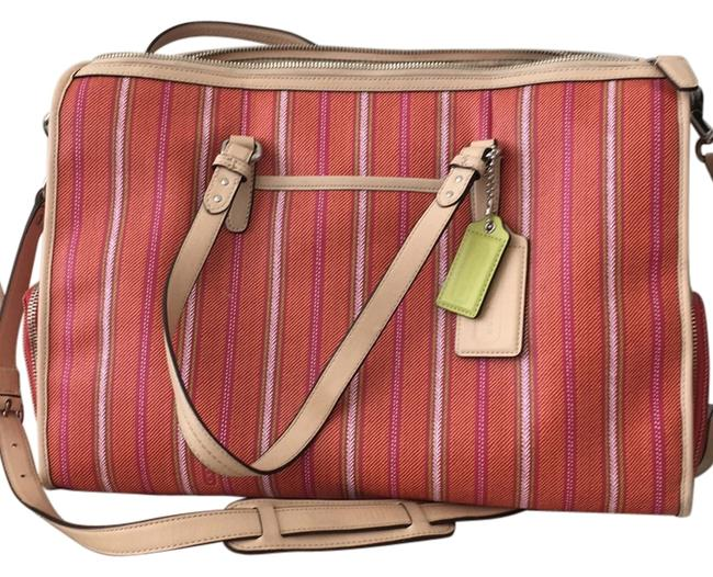 Item - Ticking Stripe Double Multi-function Tote Cream/ Orange/ Pink Coated Canvas with Leather Trim Diaper Bag