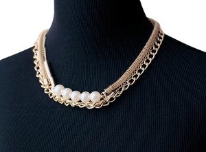 Other Modern Gold Tone Pearl Bib Necklace