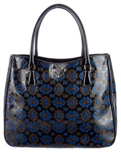 Prada Excellent Condition Truly Tote in Black, Blue and Brown