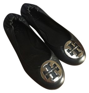 Tory Burch Silver Hardware Black Flats