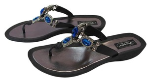 Grandco New Size 10.00 M Excellent Condition Black, Silver, Blue Sandals