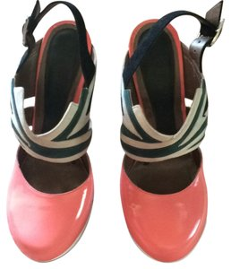 Marni Salmon pink, black, taupe, green Platforms
