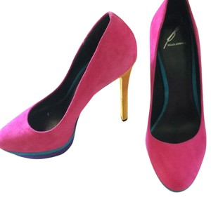 B Brian Atwood Pink, teal, purple, yellow Platforms