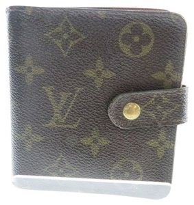 Louis Vuitton 100% Authentic Louis Vuitton Brown Monogram Compact Wallet with Zippered Coin Purse