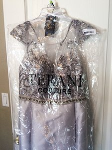 Terani Couture Silver / White / Embellished 1521m0612 Dress