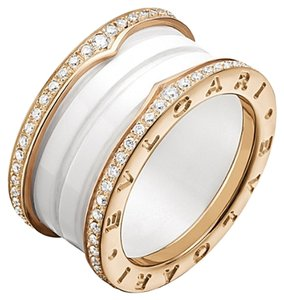 BVLGARI Bvlgari B.zero1 4 Band 18K Rose Gold White Ceramic Diamond Ring US 6.5