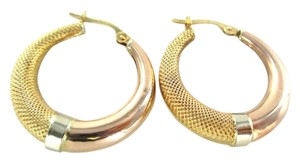 18KT SOLID YELLOW WHITE & ROSE GOLD HOOP EARRINGS FINE JEWELRY ACCESSORIES