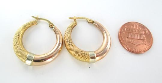 Other 18KT SOLID YELLOW WHITE & ROSE GOLD HOOP EARRINGS FINE JEWELRY ACCESSORIES