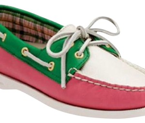 Sperry Pink Green White Flats