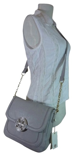 Item - Amanda Small Rounded Gray Leather Messenger Bag