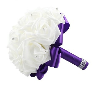 Purple And White Bridal Bouquet Or Flower Girl Bouquet