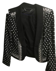 White House | Black Market Black and white polka dot with tan design Blazer