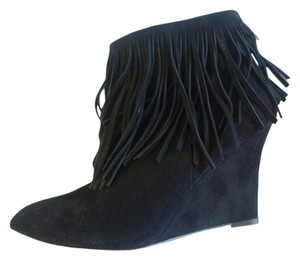 ElyseWalker Los Angeles Elyse Walker Suede Fringe Black Boots