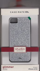 Case-Mate Case-Mate Glam Hardshell Silver Glitter Case Cover iPhone 5/5S