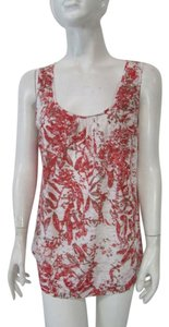 Zozo Pleated Sleeveless Floral Sheer Scoop Neck Top Red