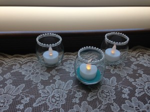 Pearl-edged Votive Candle Holders With Led Tealight Candles