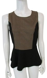 New York & Company Sretch Peplum Sleeveless Houndstooth Scoop Neck Top Black