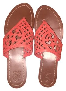 Tory Burch Leather Poppy Coral Sandals