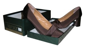 Versani Satin Classic Brown Pumps